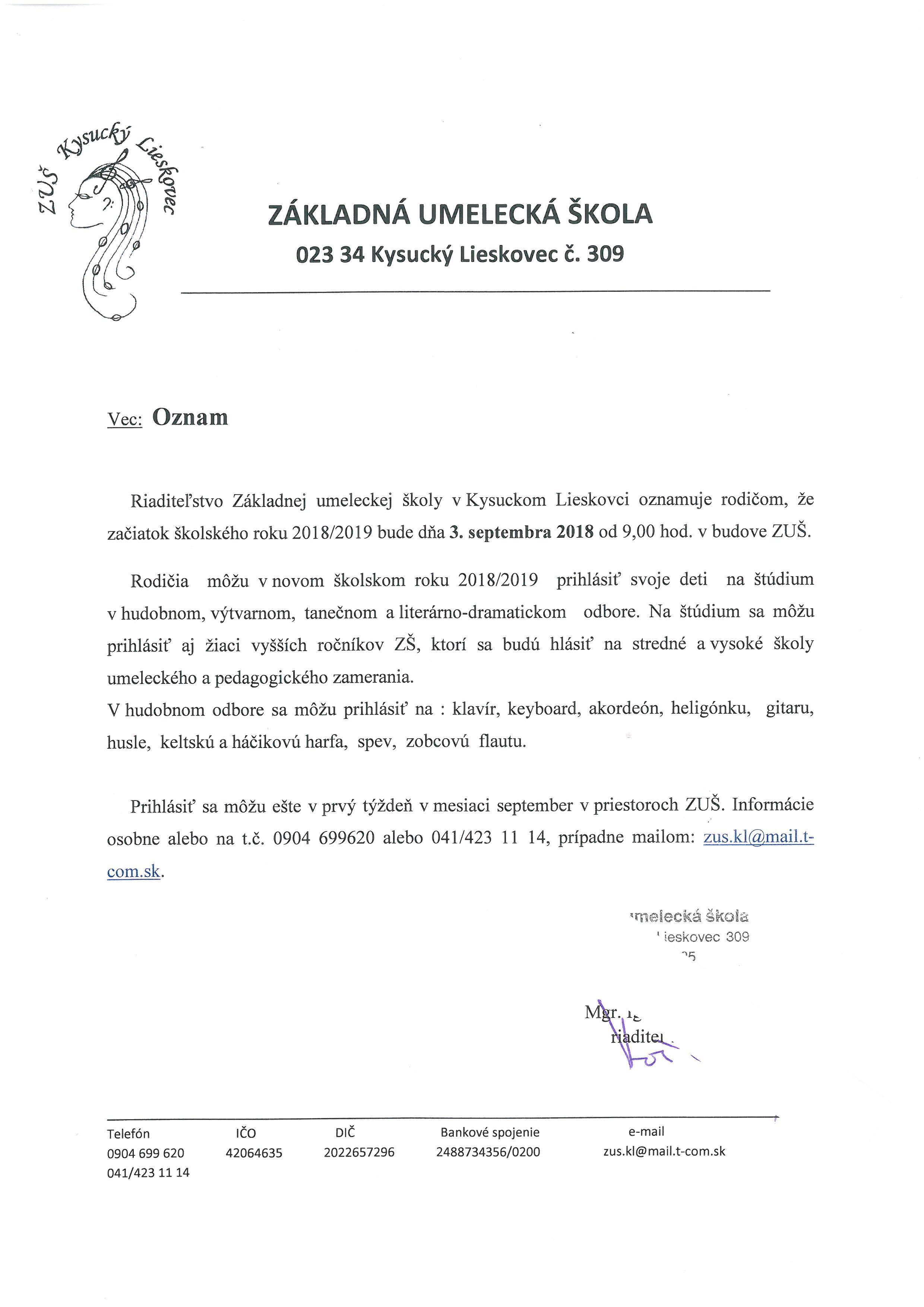 ZUŠ - OZNAM