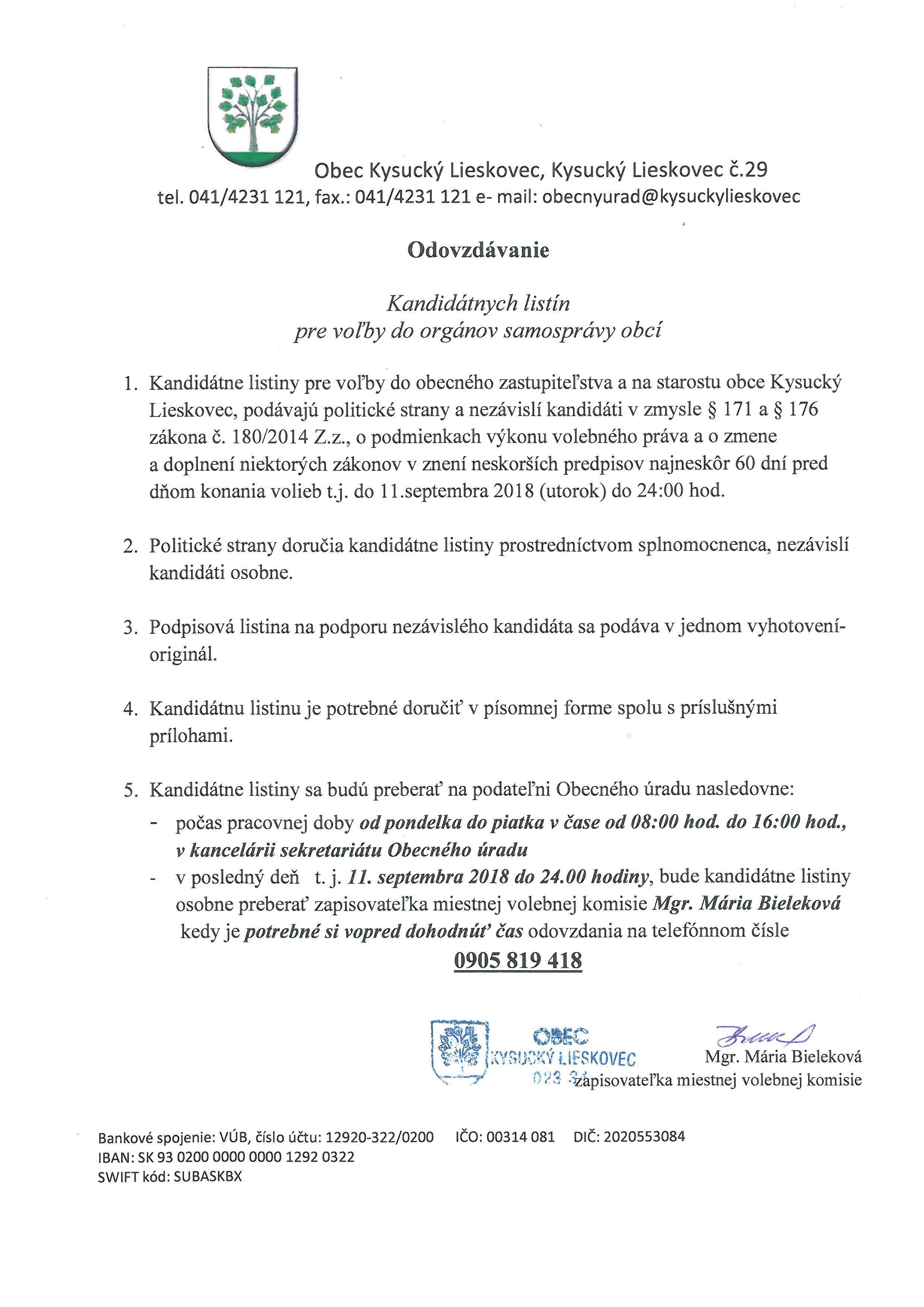 Informácia o odovzdávaní kandidátnych listín pre voľby do orgánov samosprávy obcí