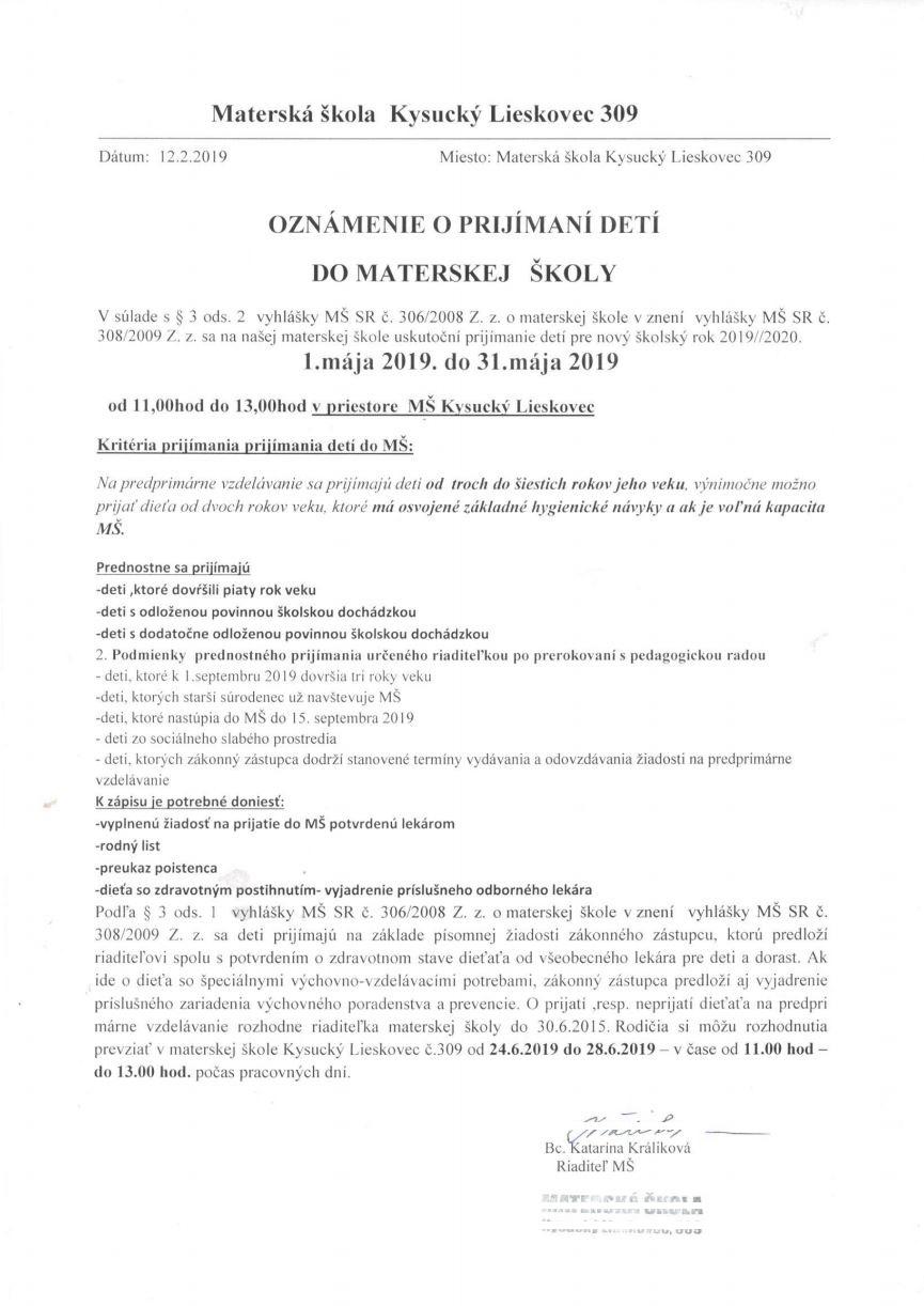 Oznámenie o prijímaní detí do materskej školy 1.5.2019