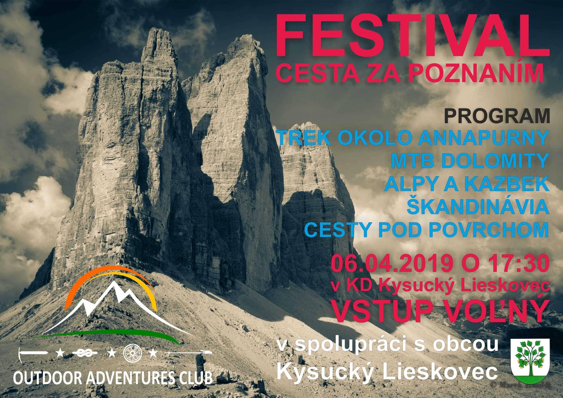 FESTIVAL CESTA ZA POZNANÍM 6.4.2019 o 17:30 v kultúrnom dome Kysucký Lieskovec, vstup voľný.