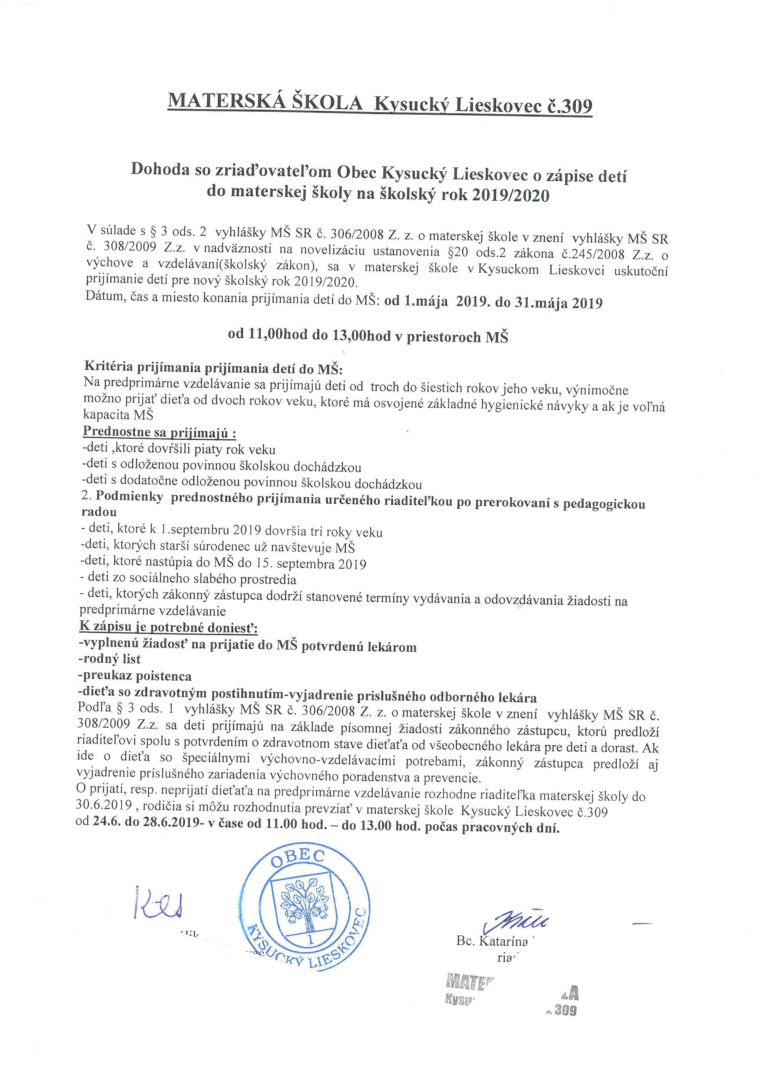 Zápis detí do Materskej školy v Kysuckom Lieskovci na šk.rok 2019/2020
