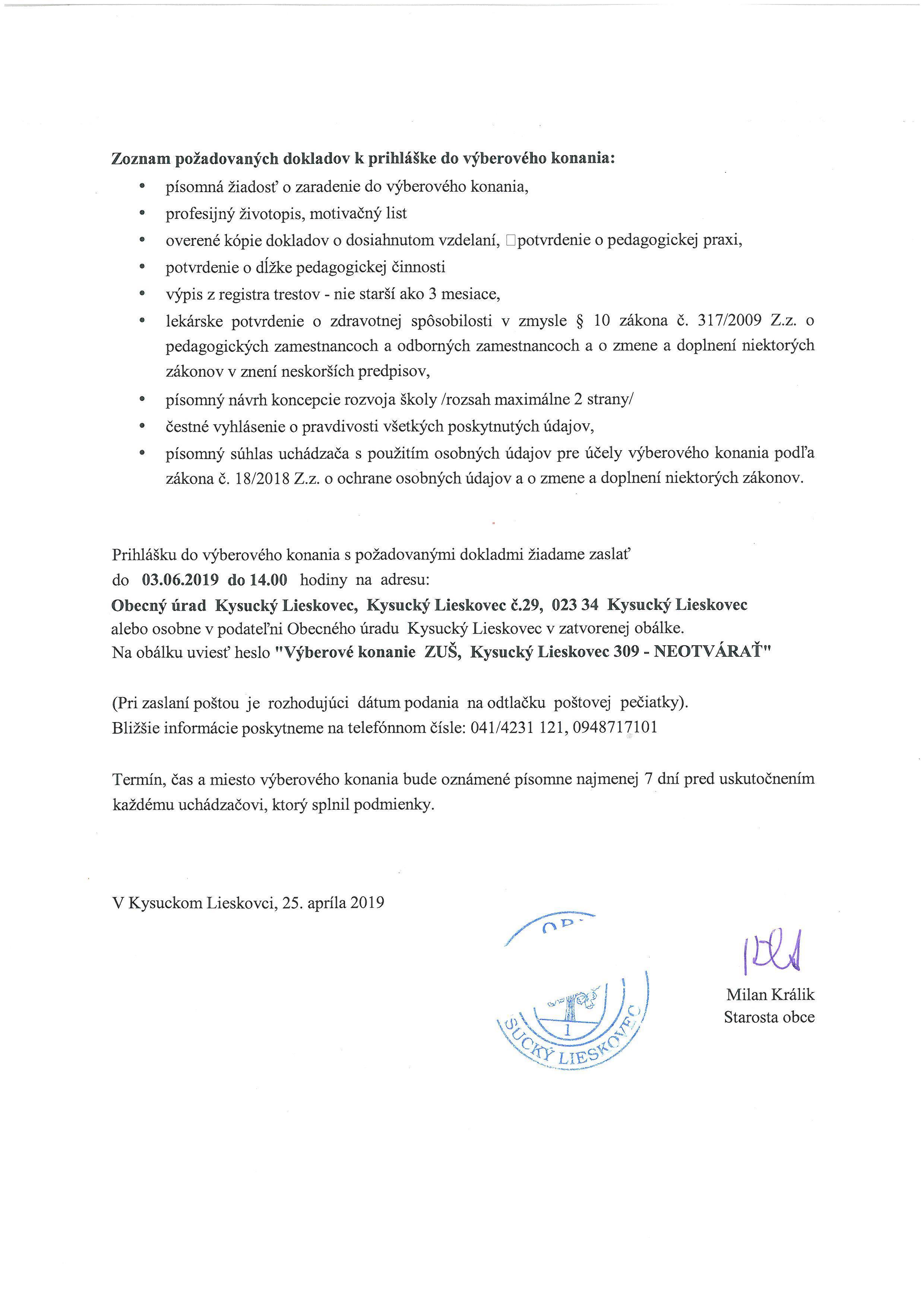 Vyhlásenie výberového konania na riaditeľa ZUŠ v Kysuckom Lieskovci