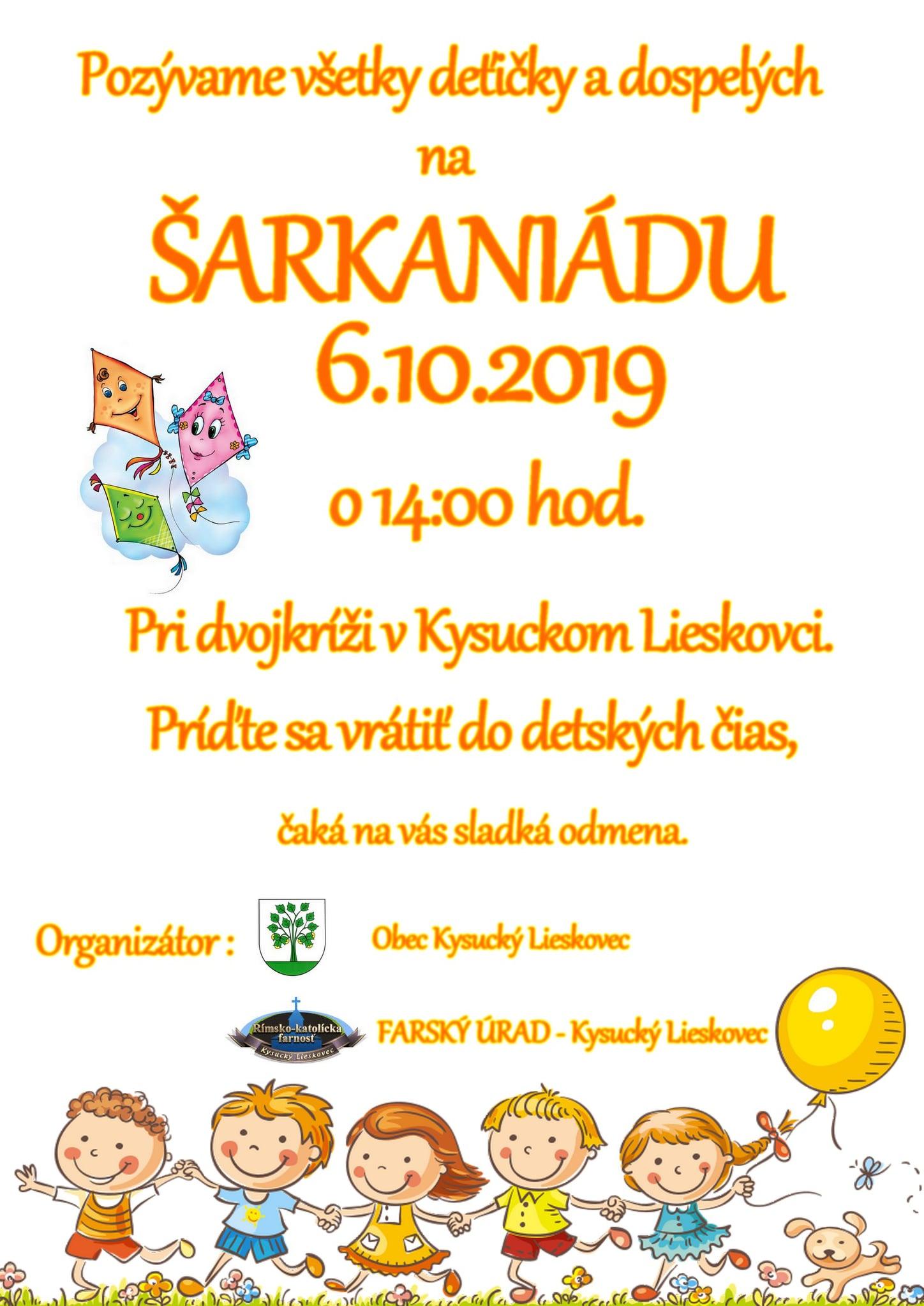 Pozývame Vás na Šarkaniádu 6.10.2019