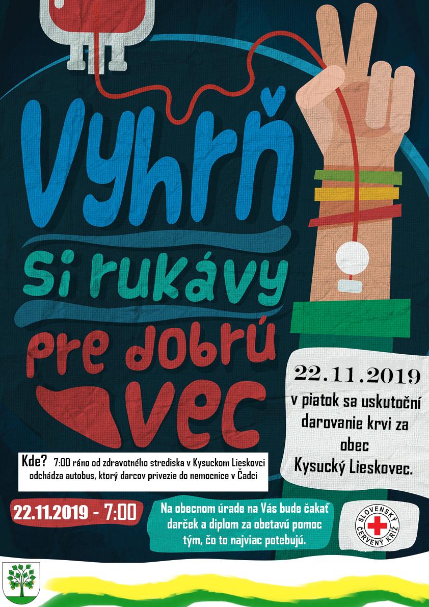 Darovanie krvi za obec Kysucký Lieskovec 22.11.2019