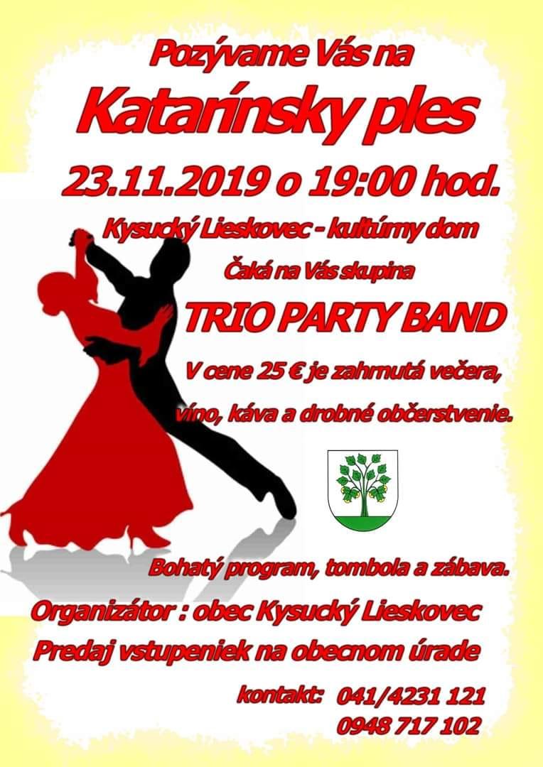 Pozývame Vás na Katarínsky ples 23.11.2019 o 19:00 hod.