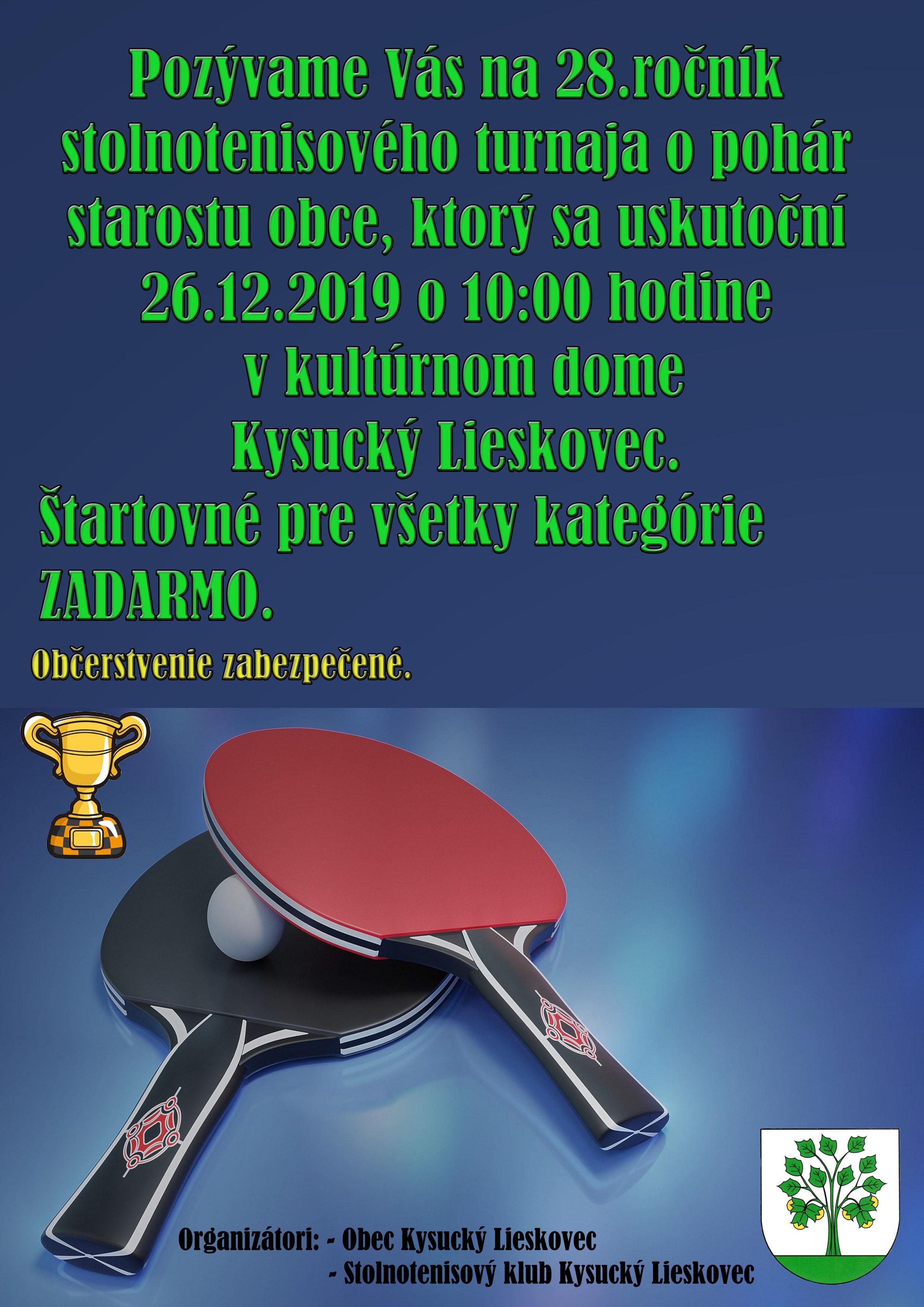 28. ročník stolnotenisového turnaja o pohár starostu obce.