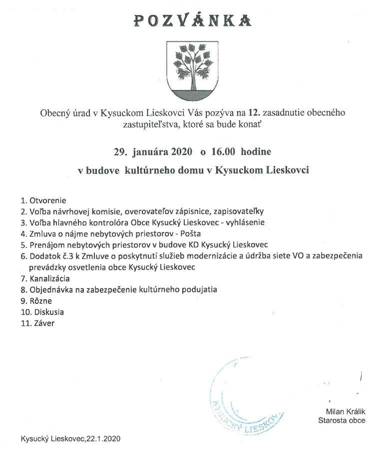 Pozvánka na 12.OZ