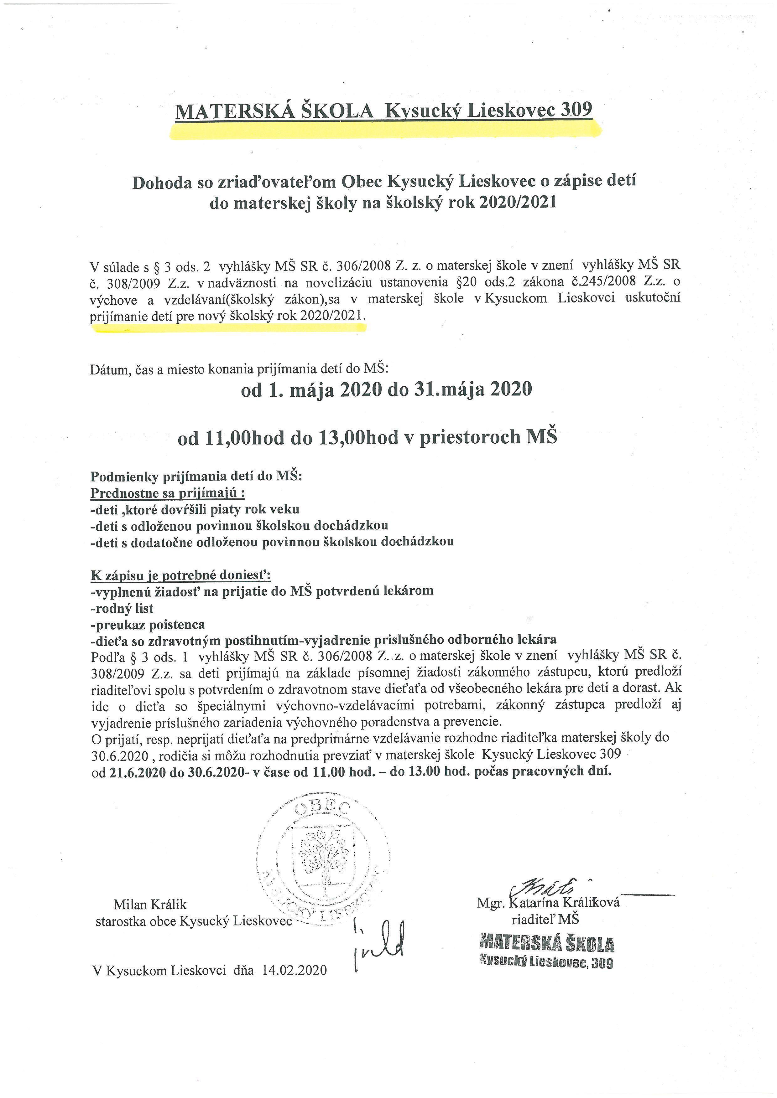 Materská škola Kysucký Lieskovec-prijímanie detí na nový školský rok 2020/2021