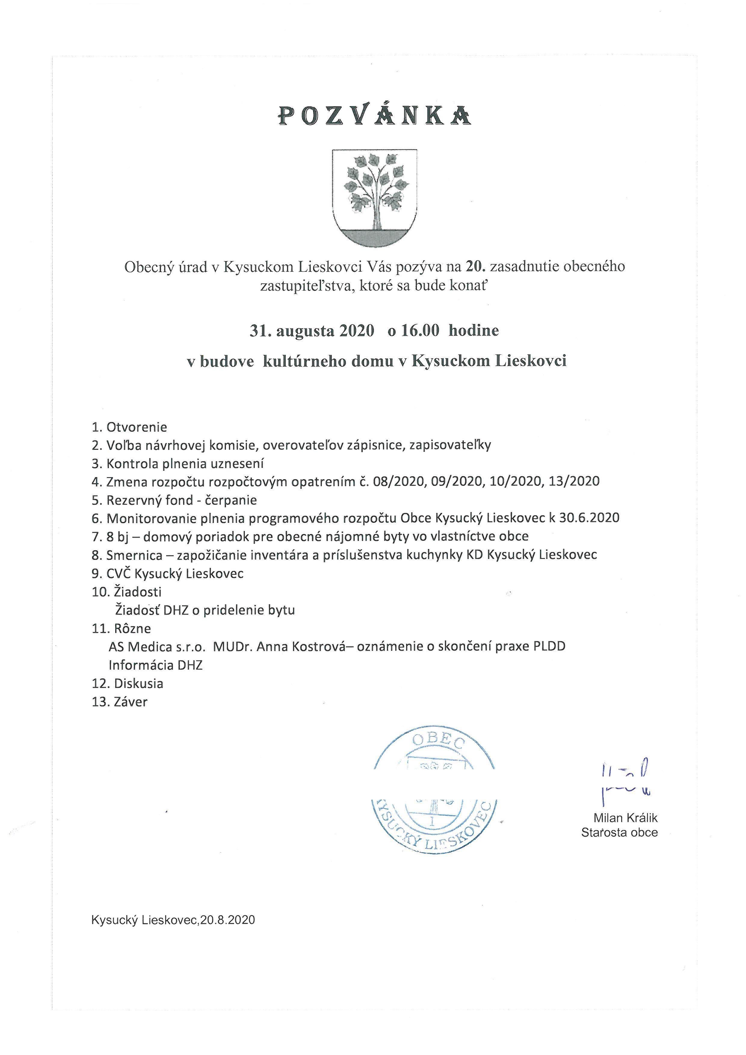 Pozvánka na 20. OZ Kysucký Lieskovec