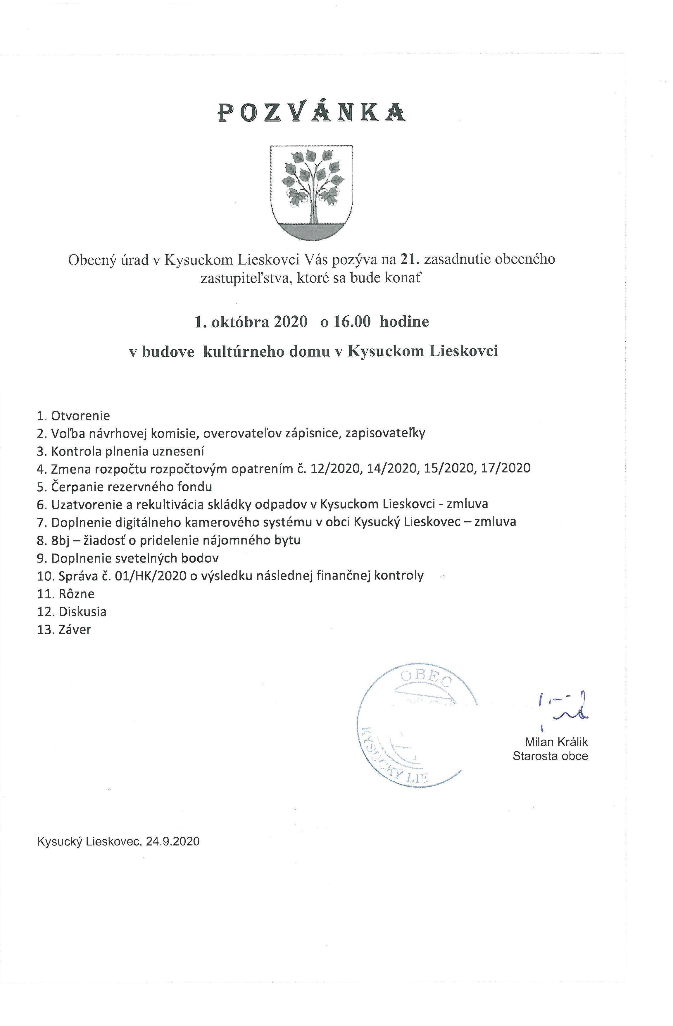 Pozvánka na 21. OZ Kysucký Lieskovec