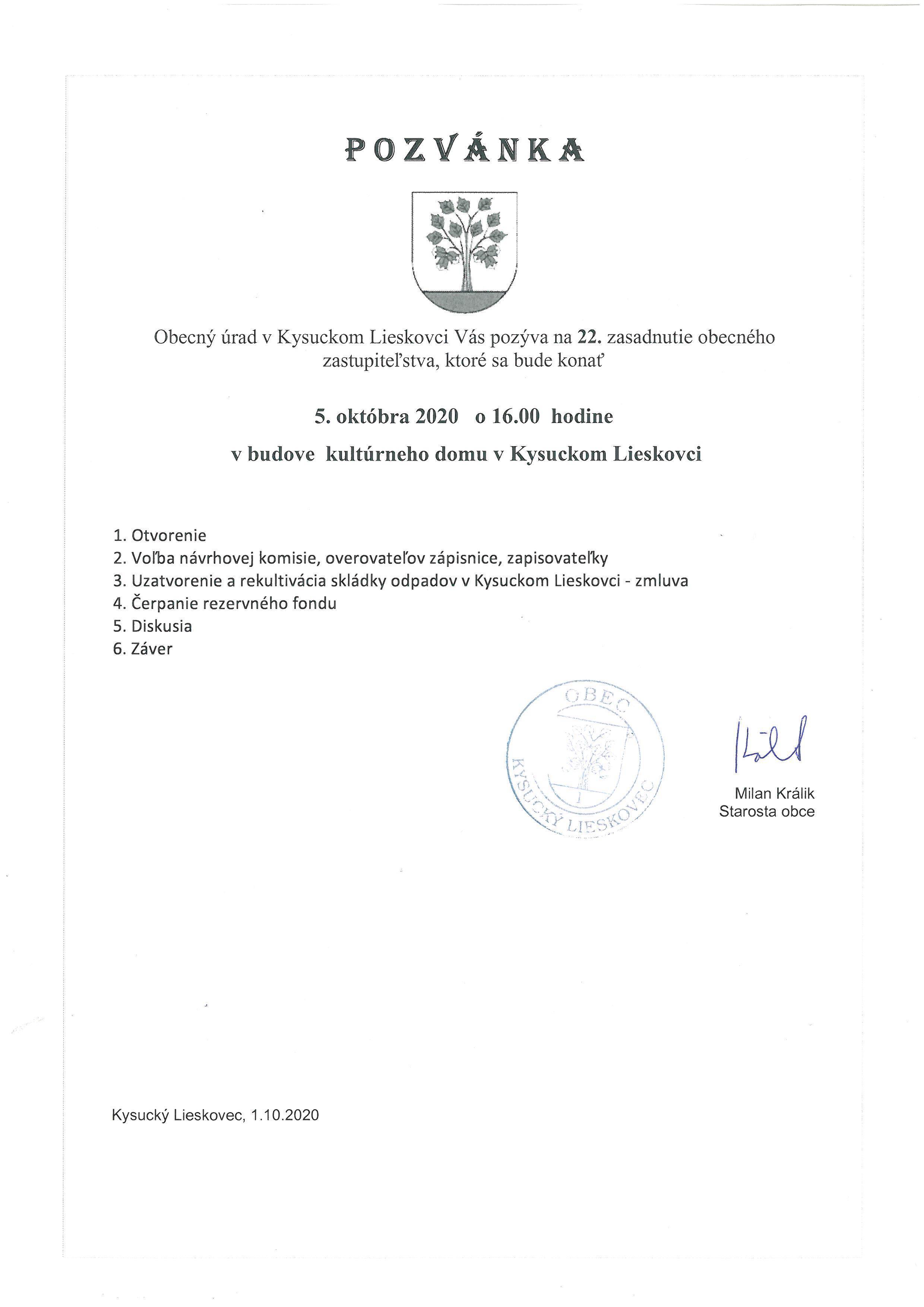 Pozvánka na 22. OZ Kysucký Lieskovec