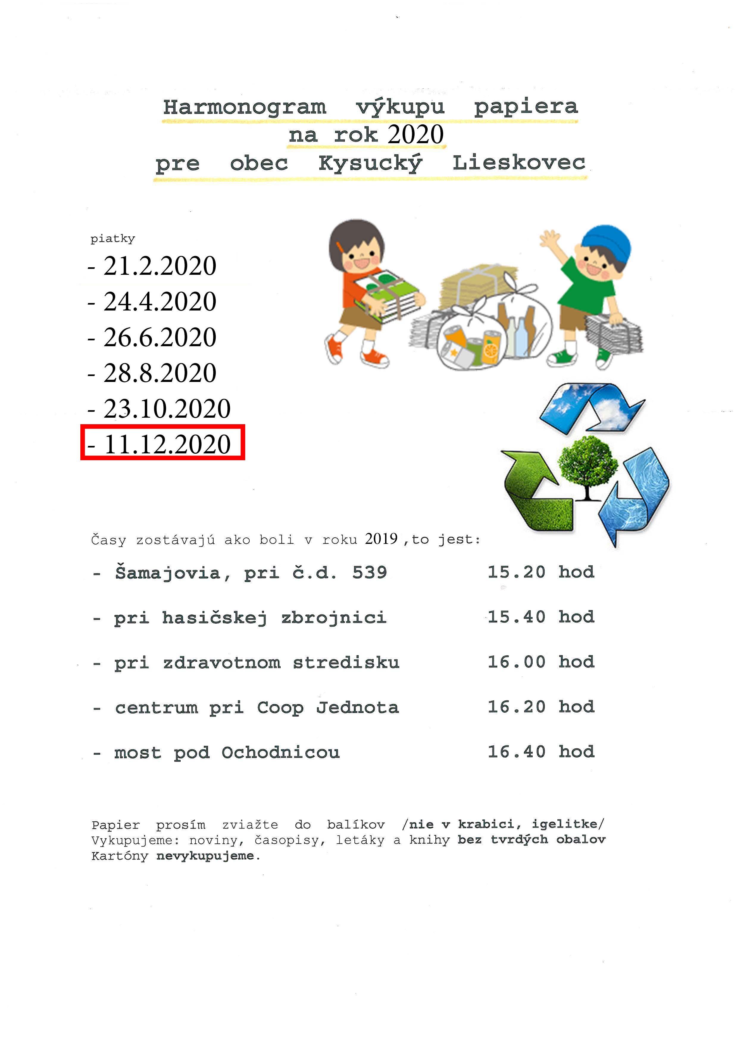 Výkup papiera sa uskutoční 11.12.2020
