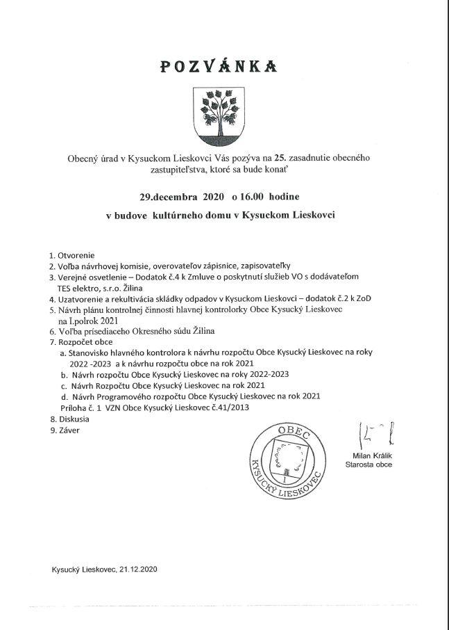 Pozvánka na 25. zasadnutie OZ