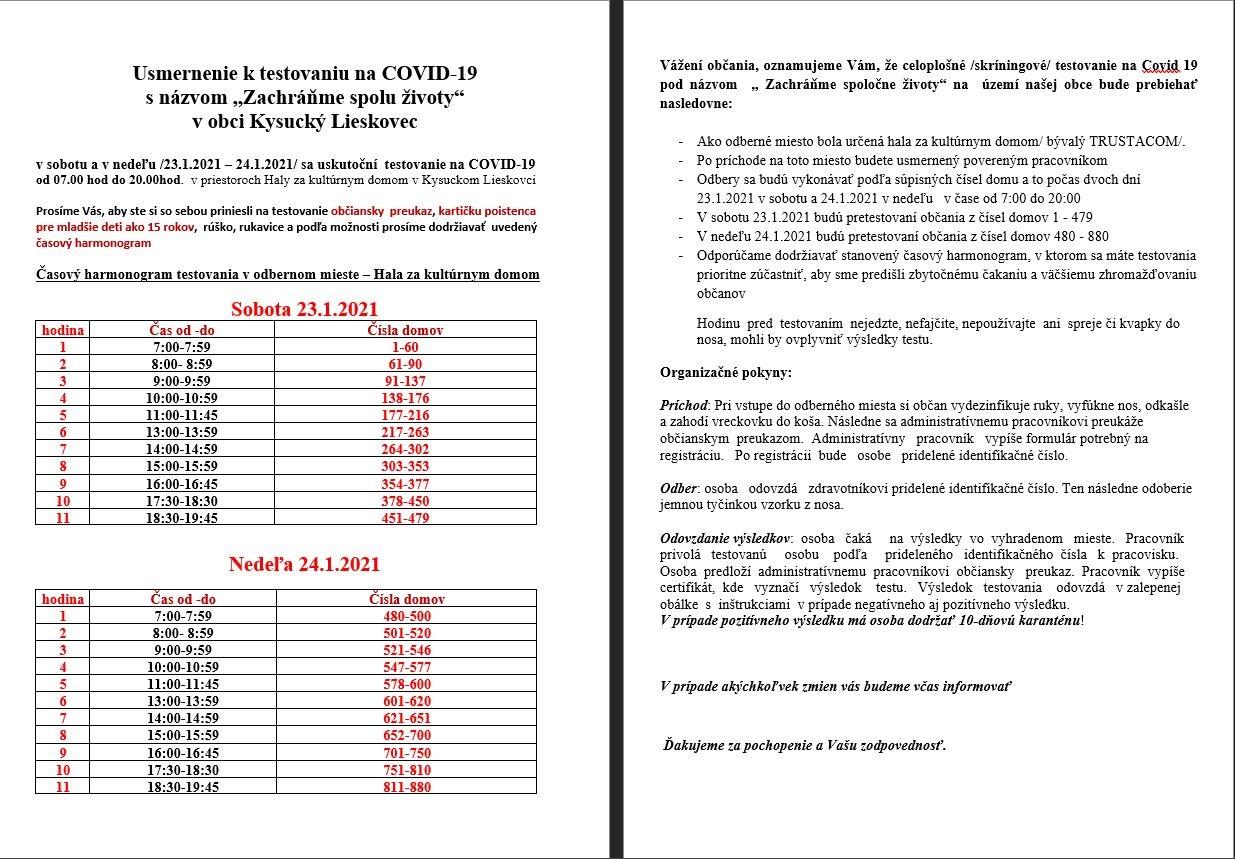 """Usmernenie k testovaniu na COVID-19 s názvom """"Zachráňme spolu životy"""" v obci Kysucký Lieskovec"""