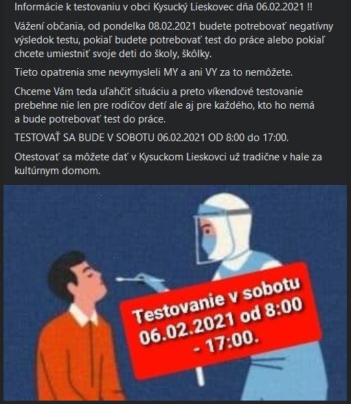 Informácie k testovaniu 6.2.2021