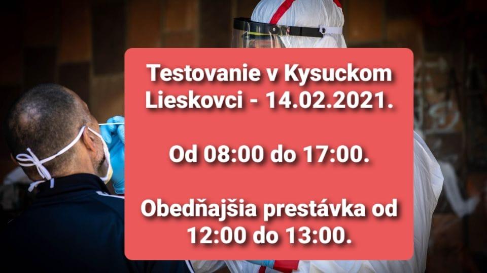 Testovanie na covid-19 Kysucký Lieskovec 14.02.2021