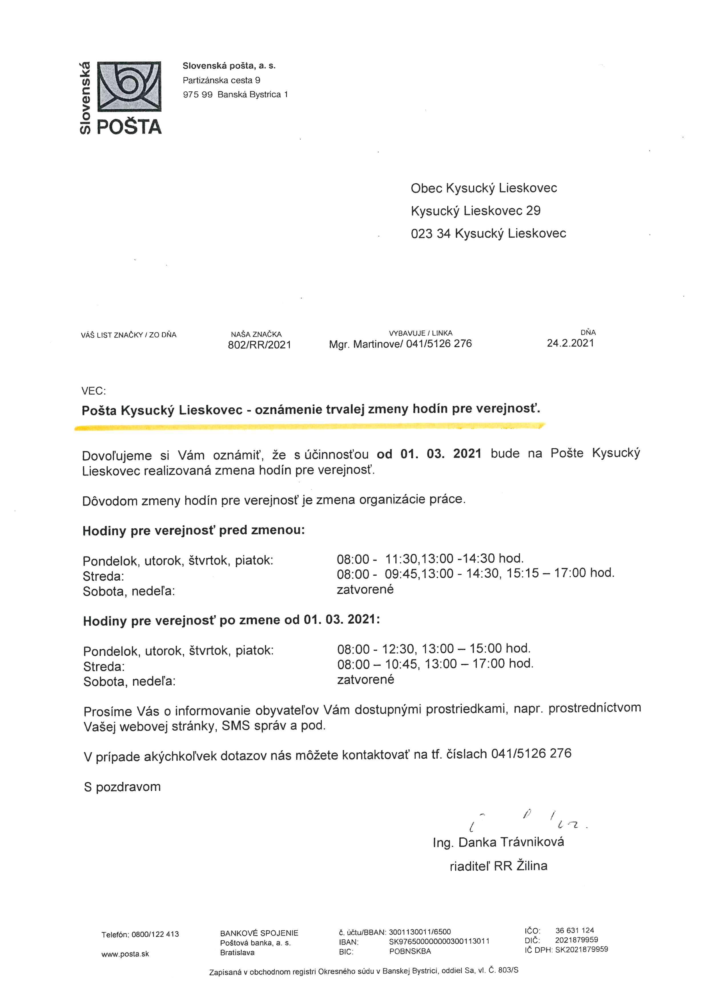 Pošta Kysucký Lieskovec - oznámenie trvalej zmeny hodín pre verejnosť