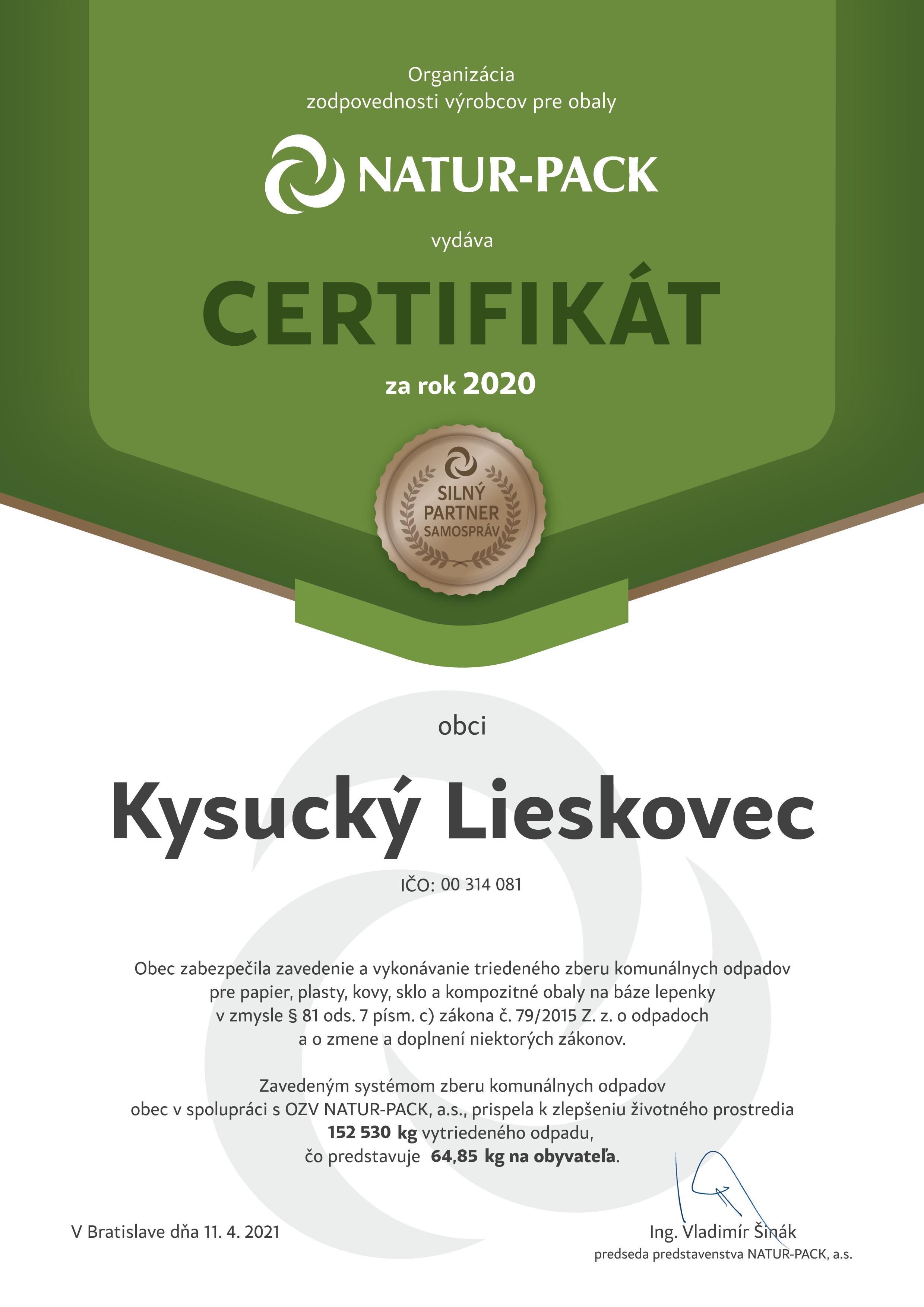 Certifikát za rok 2020 NATUR-PACK