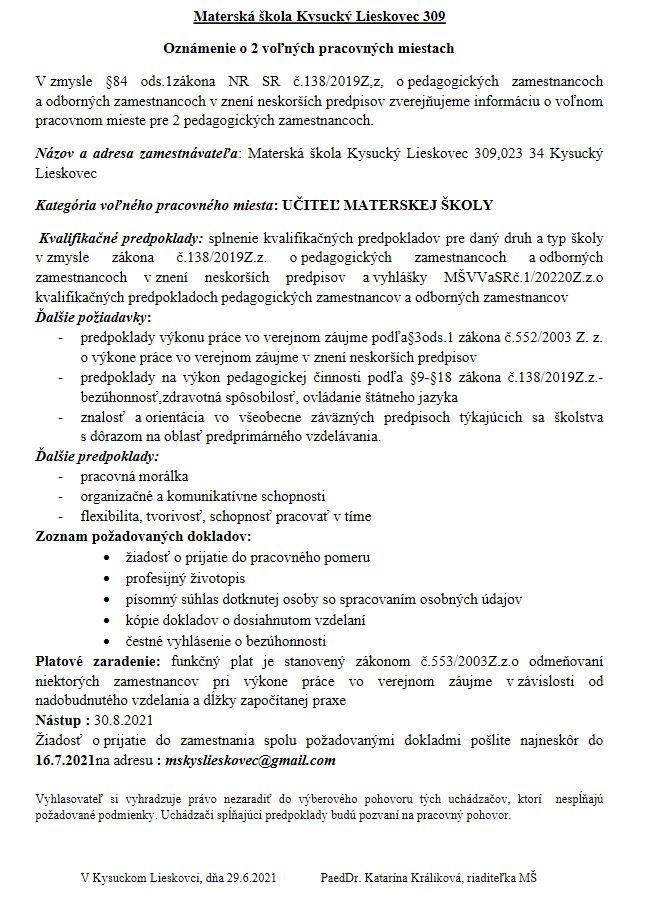 Oznámenie o 2 voľných pracovných miestach v materskej škole Kysucký Lieskovec