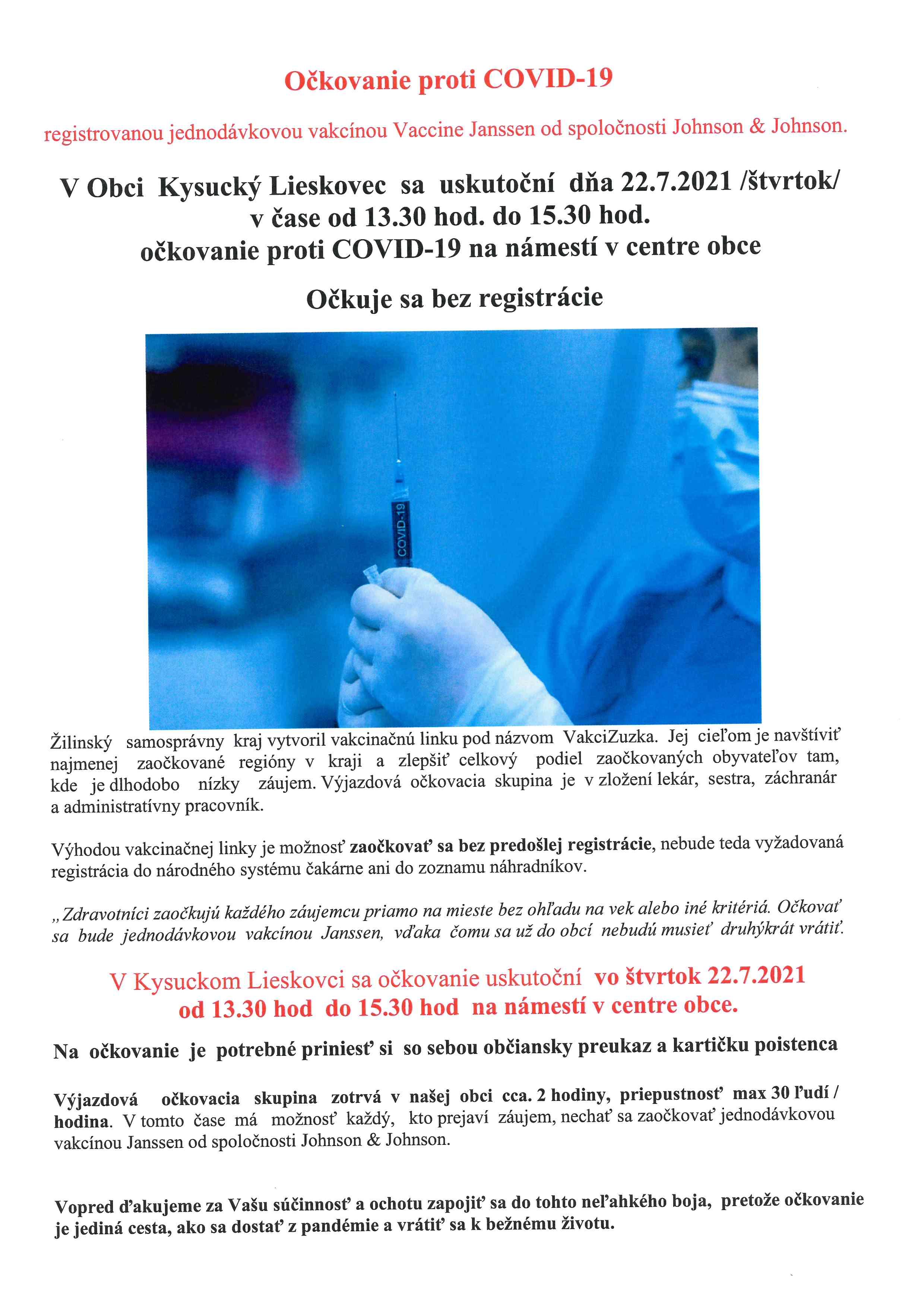 Očkovanie proti COVID-19 v našej obci
