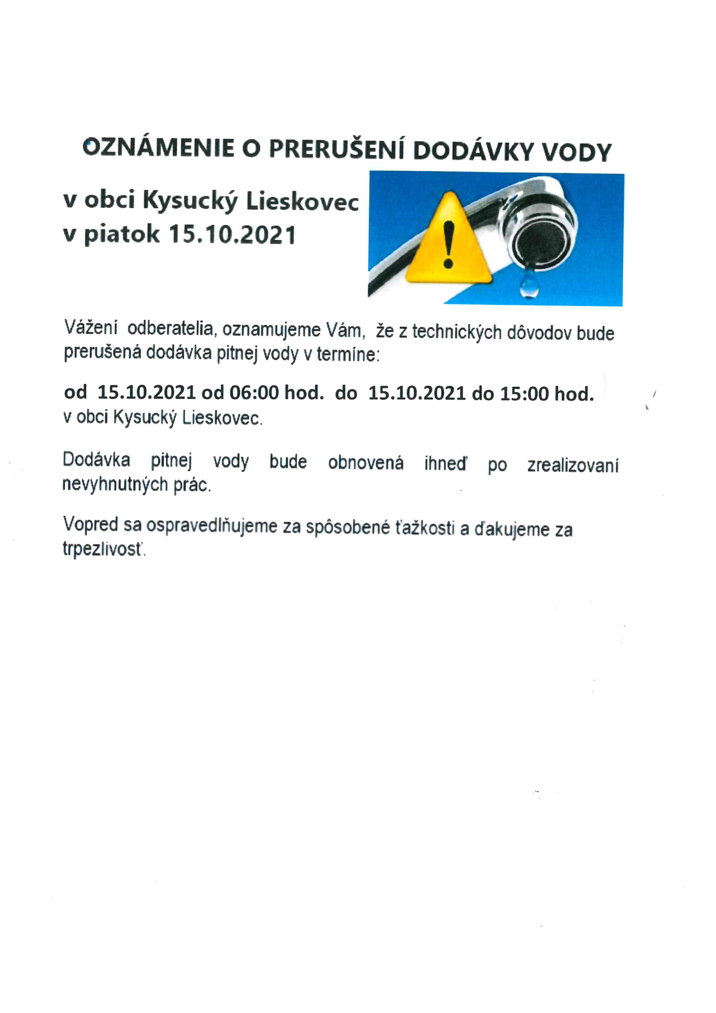 Oznam o prerušení dodávky pitnej vody dňa 15.10.2021