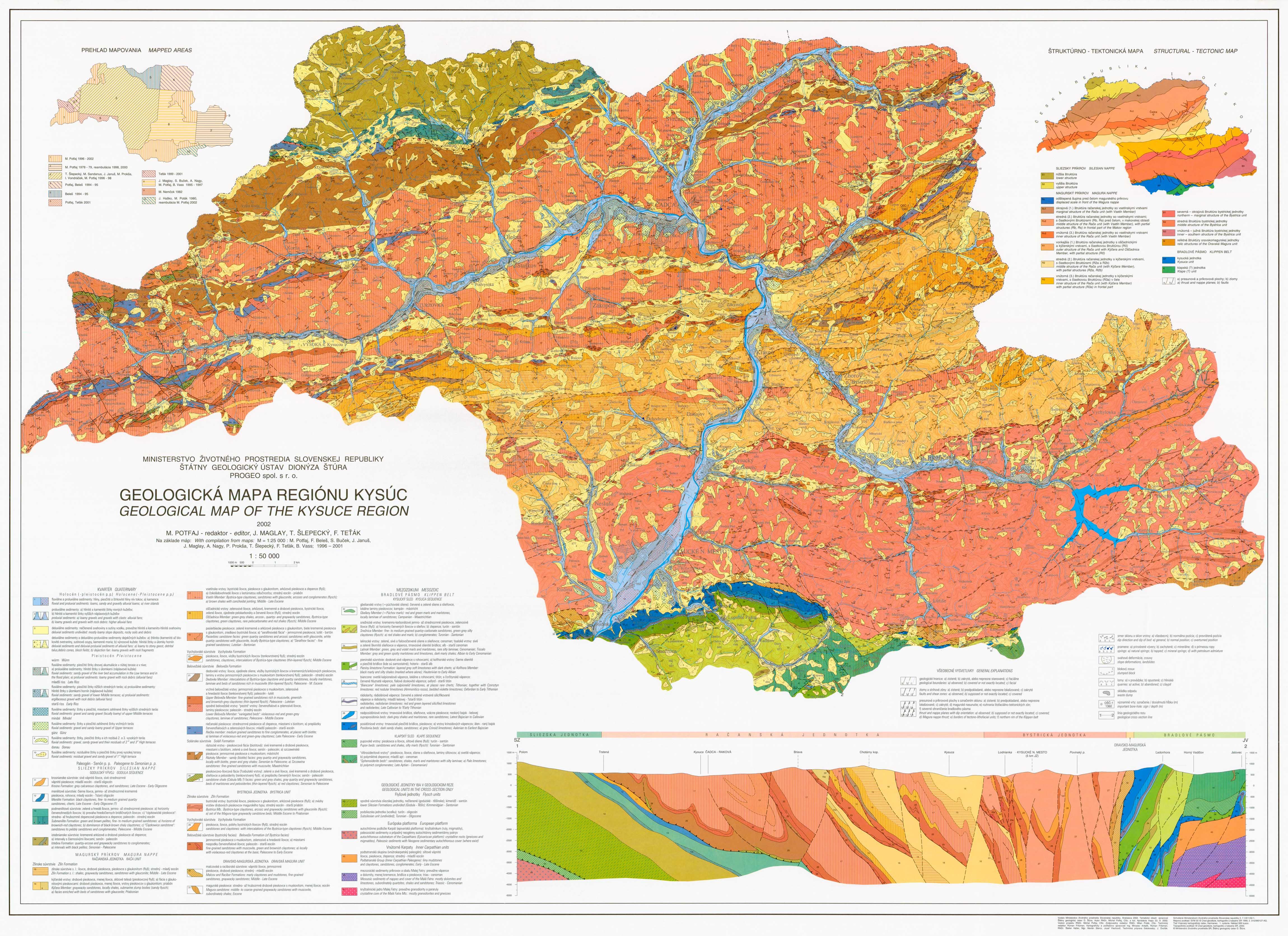 Geologická mapa regiónu Kysuce 1:50 000