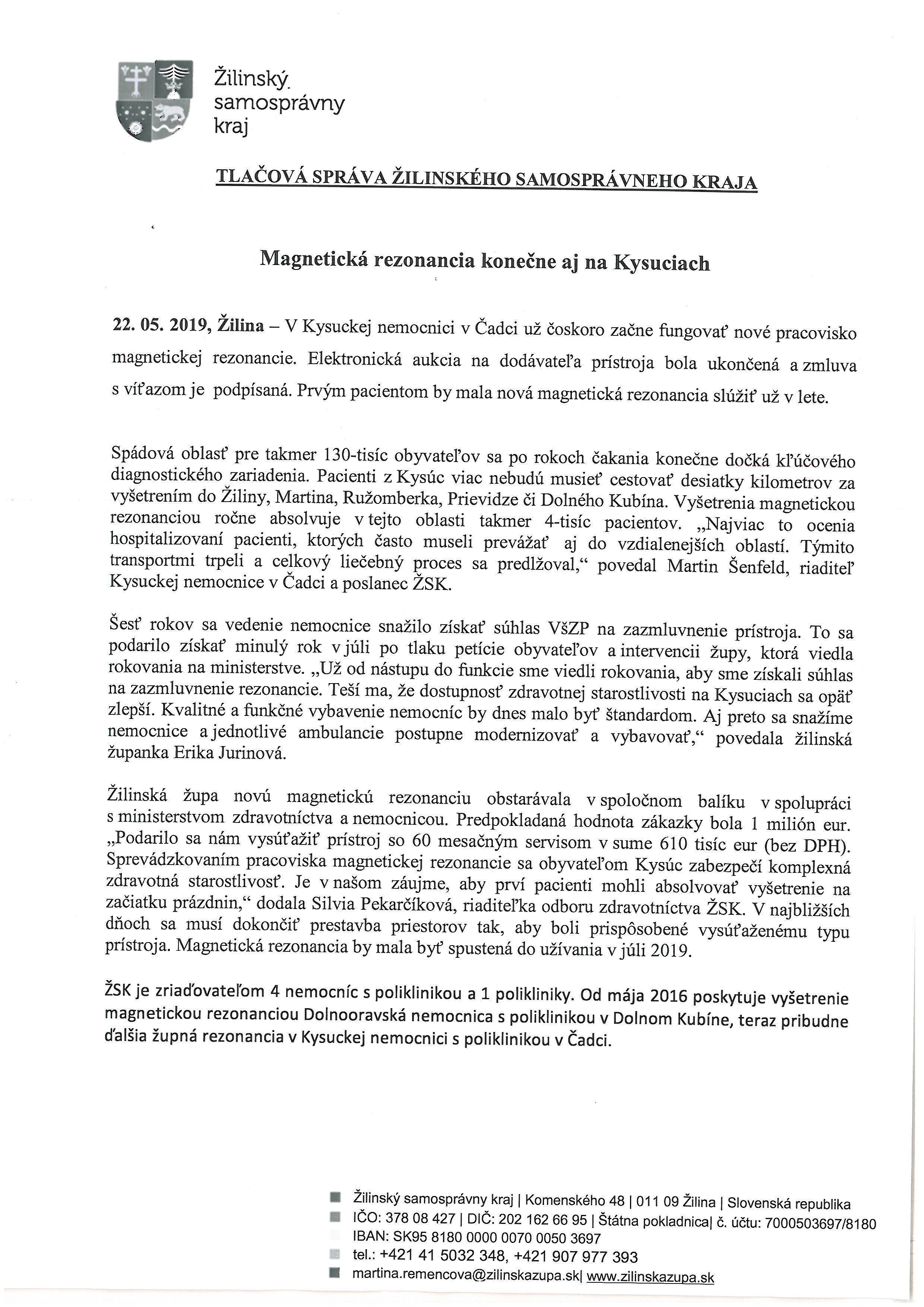 Magnetická rezonancia na Kysuciach